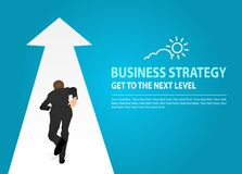 Vector Illustration of a person that is running on a arrow in modern style. Concept of Business Strategy, Wealth-Building Business stock illustration