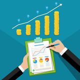 Concept of business success. Financial business plan, hand with report and golden coins. Flat design, vector illustration Stock Image