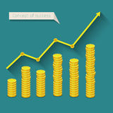Concept of business success. Graph with golden coins. Flat design, vector illustration Stock Images