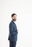 Concept of business success - a portrait in profile of a confide Stock Photos