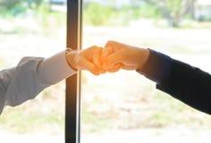 Concept Business talk  Relex. Businessman handshake success in coffee shop Royalty Free Stock Photos