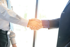 Concept Business talk  Relex. Businessman handshake success in coffee shop Royalty Free Stock Image