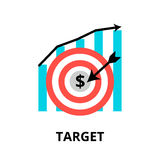 Concept of business target. Modern flat thin line design vector illustration, concept of business target, for graphic and web design Royalty Free Stock Image