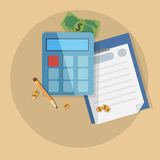 Concept business vector image with money, pocket calculator. And paper stock illustration