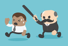 Concept businessman boss sacked. african businessman attack Stock Images
