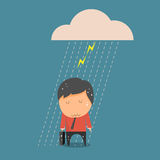 Concept of businessman fail , Businessman rain.. Vector illustration Royalty Free Stock Images