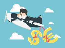 Concept businessman flying a plane have money, dollar and  euro. Eps.10 Royalty Free Stock Image