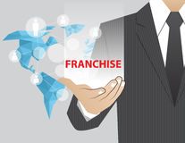 Concept Businessman in his hands , Franchise. Concept Businessman in his hands  Franchise Stock Photos