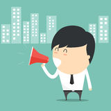 Concept of businessman with holding speak megaphone. Stock Images
