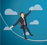 Concept of businessman or man in crisis walking in balance on rope over sky background. EPS10 Royalty Free Stock Image