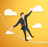 Concept of businessman or man in crisis walking in balance on rope over sky background. EPS10 Stock Photography