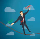 Concept of businessman or man in crisis walking in balance on rope over sky background. EPS10 Royalty Free Stock Photography