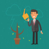 Concept businessman and money tree withered Stock Photos