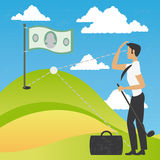 Concept of a businessman playing a golf of money Royalty Free Stock Images