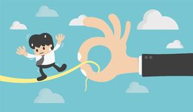 Concept Businessman on a Wire. Risk Management Defined Being an. D death by boss stock illustration