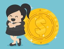 Businesswoman with coin royalty free illustration