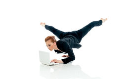 Concept of busyness - entrepreneur posing with PC Stock Image