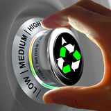 Concept of a button adjusting and maximizing the recycling. This concept illustration shows a button with three levels of recycling and fingers maximizing it Royalty Free Stock Photography