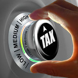 Concept of a button adjusting and optimizing tax amount. This concept illustration shows a button with three levels of tax and fingers adjusting the amount to stock images