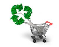 Tree with recycling symbol leaves in shopping cart, 3D illustration stock photos