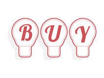 Concept of buy word combined with light bulb. Vector illustration Royalty Free Stock Photos