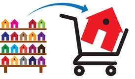 Concept of buying a house or property on sale. The shopping trolley with a house in it is symbolic of the sale. The rack of colorful houses show residences and Stock Image