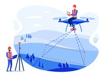 Concept cadastral engineers, surveyors and cartographers make geodetic measurements using a drone, copter vector illustration