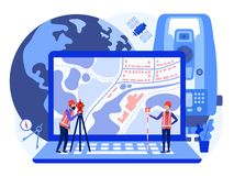 Concept cadastral engineers, surveyors and cartographers produce geodetic survey of the area using theodolite and map on a laptop. Vector flat illustration stock illustration