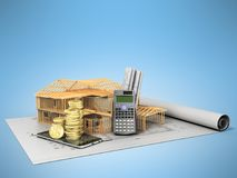 Concept of calculating the construction of a country house drawi. Ng communication money 3d render on blue background Stock Photo