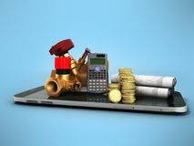 Concept of calculating sanitary connections 3d render on a blue. Background Stock Photo