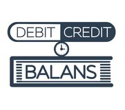 Silhouette balance scales as a folder. Concept of calculation debit and credit,  balance sheet, accounting in the form of balance scales as a folder. Icon Stock Images