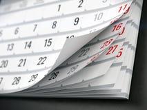 Concept of calendar, reminder, organizing. 3d illustration of calendar Royalty Free Stock Images