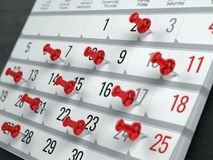Concept of calendar, reminder, organizing. 3d illustration of calendar with red pins Royalty Free Stock Photos