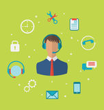 Concept of call center with operator man in headset , helpdesk s Stock Photo