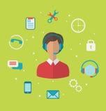 Concept call centre met exploitantvrouw in hoofdtelefoon, helpdesk Royalty-vrije Stock Afbeelding