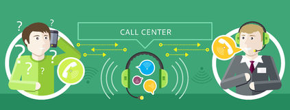 Concept of Call Centre Operator and Clients Stock Images