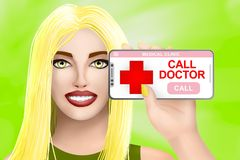 Concept call doctor, ask for medical assistance. Drawn pretty girl on colourful background. Illustration royalty free illustration