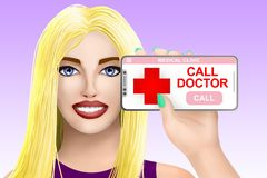 Concept call doctor, ask for medical assistance. Drawn beautiful girl on bright background. Illustration royalty free illustration