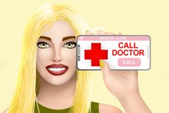 Concept call doctor, ask for medical assistance. Drawn pretty girl on vivid background. Illustration vector illustration