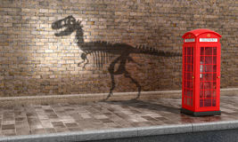 The concept calls. Irrelevance of telephone booths in the present time. Teleflna booth which casts a shadow skeleton dinosaurs. 3D illustration royalty free illustration