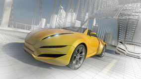 Concept car. Sports car moving on the bridge. My own car design