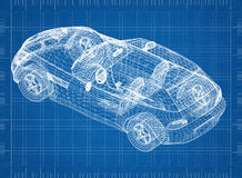 Concept car blueprint – 3D perspective Royalty Free Stock Photography