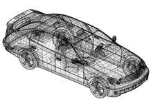 Concept car blueprint – 3D perspective stock illustration