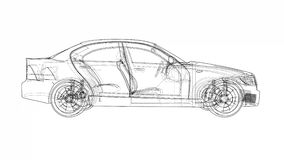Concept car blueprint style video stock footage
