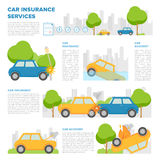 Concept of car insurance against various incidents. Page template with place for text and different car accidents Stock Image