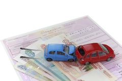 The concept of car insurance.Motor or car insurance application with car model with keys against the background of euro banknotes