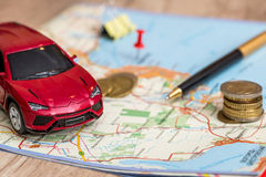 Concept of car journey Stock Images