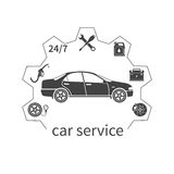 Concept car service. Auto service and repair icons isolated. Fuel, pressure in the tires, battery, brakes, 24/7, oil. Template web banners and promotional Royalty Free Stock Photography