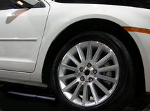 Concept car tire. Closeup of front wheel on a Japanese model concept car Stock Photos