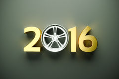 Concept with car wheel. 2016 concept with car wheel Royalty Free Stock Photography